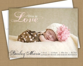 modern baby birth announcement. custom photo card. photo baby announcement. This is love