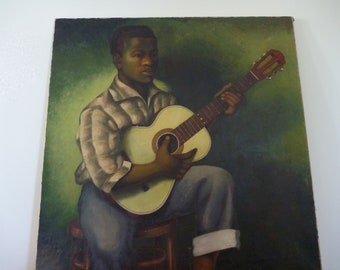 HUGE square African-American Portrait, Original Painting, Signed by a listed artist