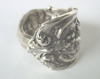 Sterling Silver Spoon Ring Ornate Antique -  Reed and Barton Francis . Made to your requested size.Spoon and Fork Jewelry.