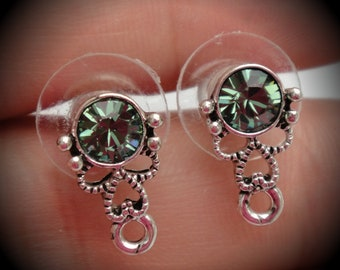 Genuine Silver Plated Swarovski Crystal Earring Stud In Erinite