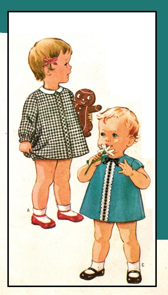 McCalls 7586 Vintage 60s Infants Three Panel DRESS with BLOOMER panties Sewing Pattern Size 6 months Breast 19