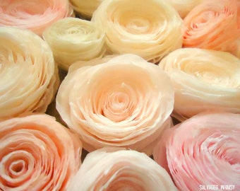 Pink Dyed Rolled Paper Flowers. Rose or Peony Paper Flowers made by Hand. Gift Wrap, Accessories, Flourish
