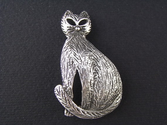 Vintage Cat brooch 50s/60s Sterling Silver abstract 50s style