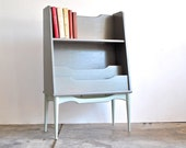 Mid Century BookShelf - Gray with Mint Blue Legs
