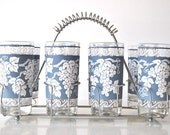 Vintage 60's Drinking Glasses - Blue with grapes