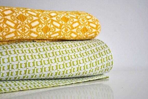 Retro Fabric - Golden Yellow, Green and White