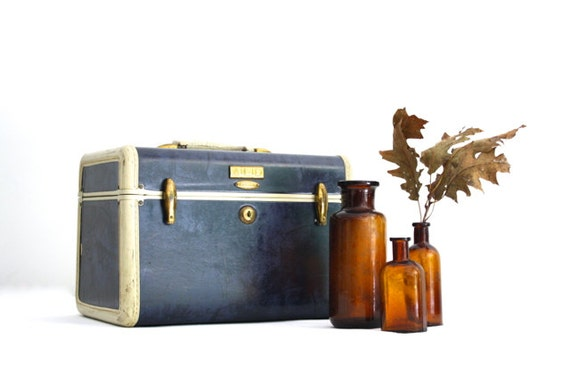 Navy Blue Train Case - Vintage Samsonite Marbled Luggage
