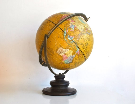 Yellow Cram's Imperial World Globe - Dual Axis - 1940's/50's Vintage - Rare Color