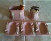 VINTAGE PINK and WHITE cigarette set with ashtray and lighter set