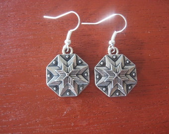 Pewter Button Earrings from Norway Hardanger