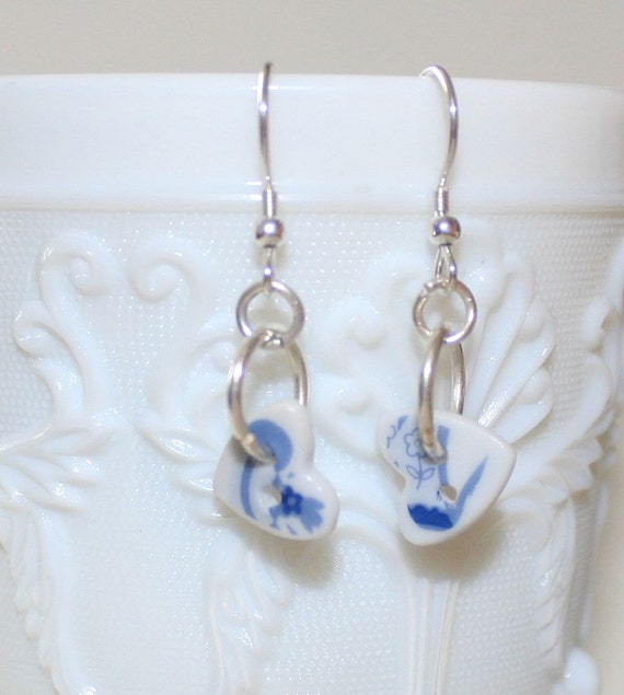 Teeny porcelain heart button drop earrings with blue design and sterling silver findings