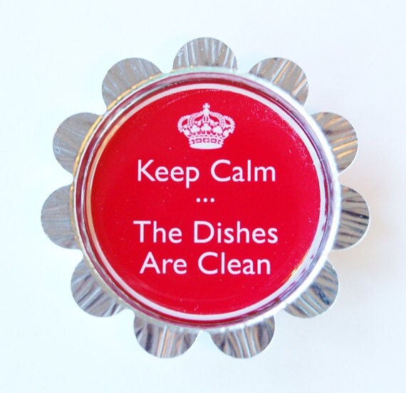 Dishwasher magnet, Keep Calm, Clean Dishes, Magnet, Bottlecap magnet, flower magnet, kitchen magnet, red