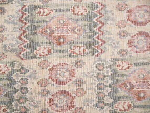 "Aztec Fabric Cream Green Brown Zig Zag Geometric upholstery 4' 6"" x 5'"