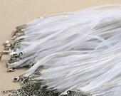 Single Organza Ribbon & Cord Necklace- White