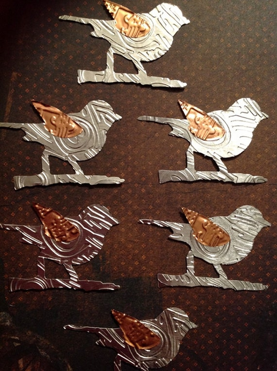 Little Bird Die Cuts Embossed Silver Foil Bird Silhouette with Brass Wings Set of Six Scrapbooking Journal ACEO's ATC's Embellishments