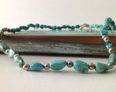 Sterling and Natural Turquoise Necklace