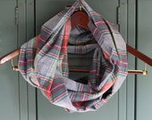 Blue, Red & Green Plaid Flannel Infinity Scarf