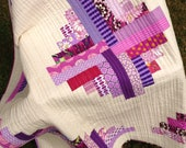 Small Modern Log Cabin Quilt (cream & purples)