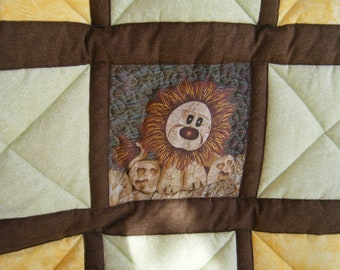 "Yellow and Green Baby Lion Quilt - 42""x 46"" - HANDMADE BY ME"