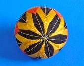 Rattling Temari Ball Ornament Flowers and Diamonds Orange and Yellow