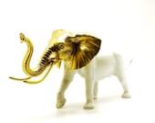 white elephant figurine, gold, upcycled, chic home decor  //  elephants, bohemian, india, altered toy, mod housewares, african, tribal