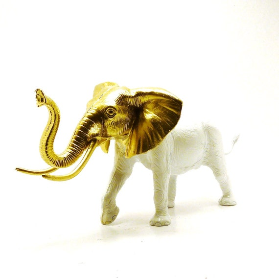 White Elephant Figurine Gold Upcycled Chic Home Decor By