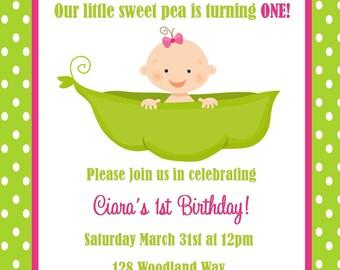 Pea in a Pod Birthday Invitation - (Digital File) / First Birthday Invitation / Pea Pod First Birthday / Sweet Pea Birthday Invitation