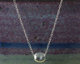 Small Silver Pebble and Chain Necklace, Silver Greek Pebble, Sterling Silver Chain, Sterling Silver Necklace