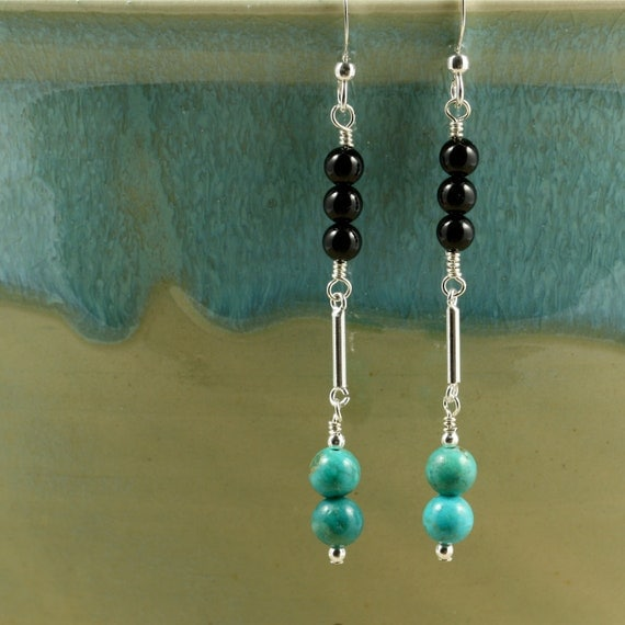 Turquoise Drop Earrings with Black Onyx and Sterling Silver, Dangle Earrings