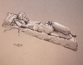 "Life Drawing Figure Study Reclining Female Nude Pastel 12X16""  No.62"