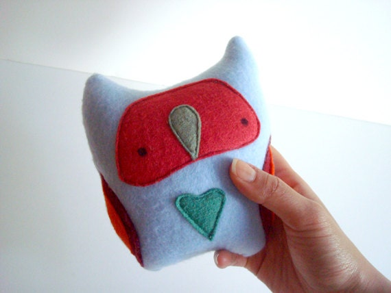 small OWL LoveBelly baby blue fleece with olive, tangerine, cherry red and a green felt heart plush art doll by might