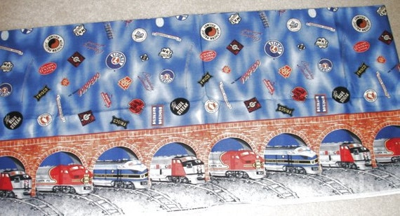 Large print fabric 88 by 44 railroad trains for Train print fabric