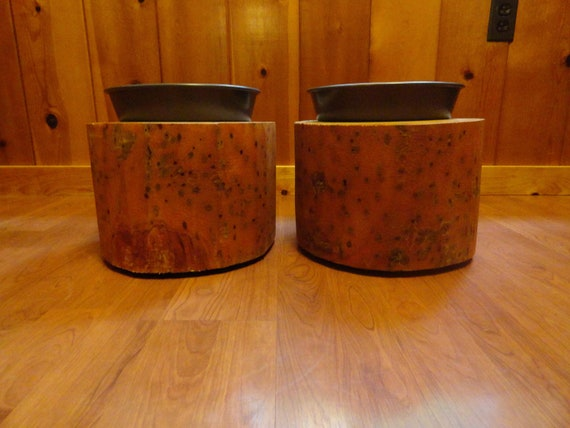 Solid log dog dish stools