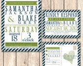 Modern Stripe Wedding Invitation Suite--Available for DIY Printing or Professional Printing, Navy and Green Nautical Feel