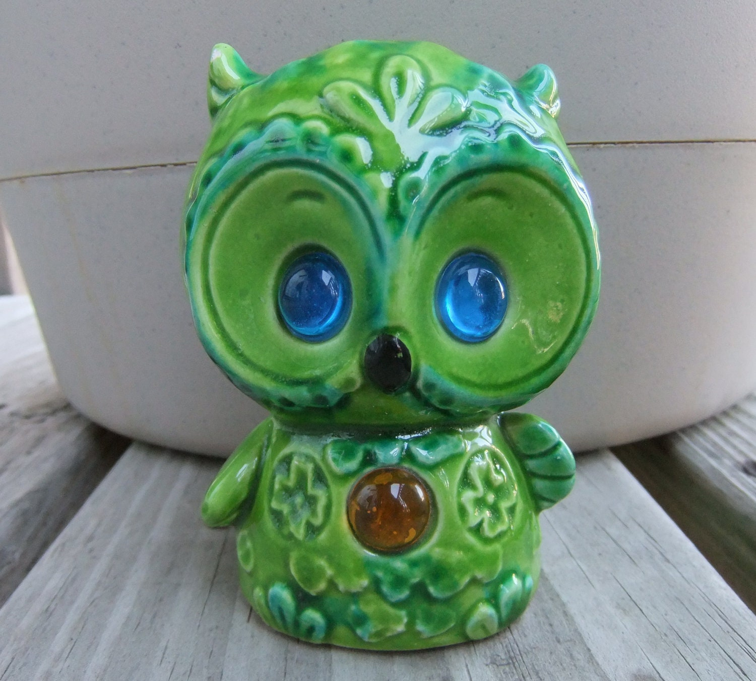 Vintage Owl Figurine Green Ceramic Owl Home Decor By