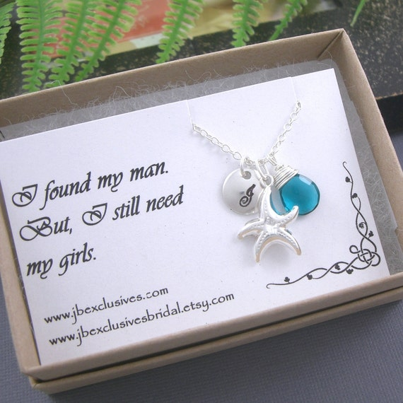 bridesmaid gift - personalized - sterling silver hand stamped monogram initial necklace with thank you card - star fish, gemstone ..n4