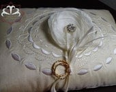 Golden Ivory Embroidered Ring Bearer Pillow with Flower and Rhinestone Button