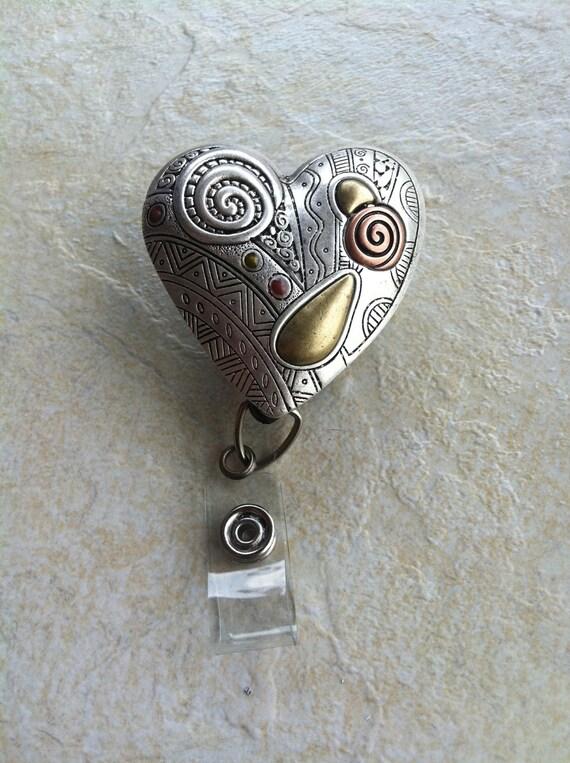 Rose Silver Gold Bronze Ladies Silver Filegre Heart art designer Badge reel retractable ID Badge Holder