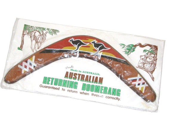 Vintage 70s 80s Painted Wood Australian Returning Boomerang Souvenir From Australia - New In Package