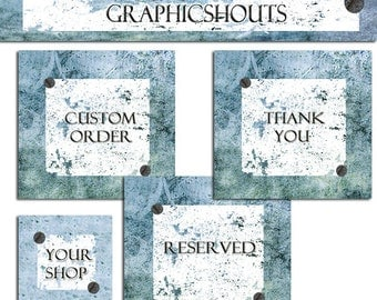 Etsy Shop Banner and Avatars Set - Blue Vintage Rusty Grunge cover banner