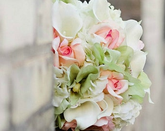 White, Blush and Celedon Green Real Touch Bridal Bouquet- Made to Order.