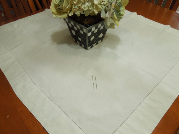 "Vintage white linen monogramed ""B"" tray cloth for housewares, tablecloth, dining, home decor, linens by MarlenesAttic"