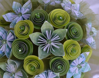 Wedding Bridal Paper Bouquet, Green with Plaid
