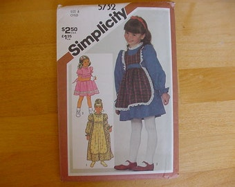 UNCUT 1980's Simplicity 5732 Young Girls Dress & Pinafore, 2 Lengths, 3 Styles, Variations, Size 6