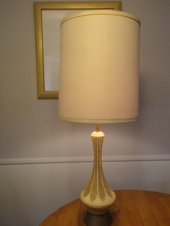 Mid-Century Danish Modern Teak & Brass White Pottery Textured Lamp and Shade Light Lamp Finial