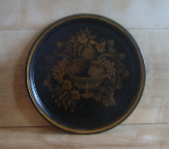 Vintage Metal Tray w/ Gold Painted Harvest