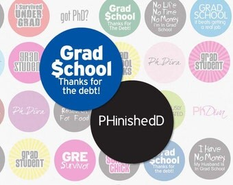 GRADUATE SCHOOL - 1 Inch Circle Digital Collage Sheet for Bottle Cap Pendants, Magnets, Cupcake Toppers and More (Instant Download No. 315)