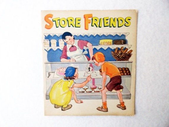 RESERVED for Anne 2 Books 1940 Store Friends & At School Vintage Childrens Book, Linenette