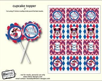 Mickey Mouse Baseball Party Tags, Mickey Mouse Birthday, Mickey Mouse Favor Tags, Mickey Mouse Cupcake Toppers, Mickey Favor Tags, Mickey