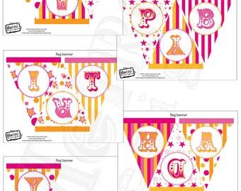 Orange & Pink Carnival Birthday Banner